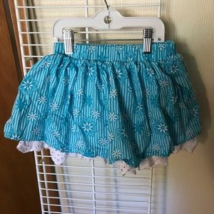 Disney blue striped skirt with white lace, size 5